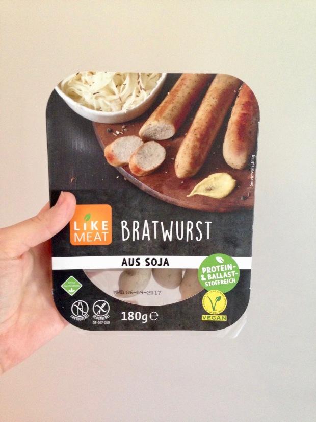 De verpakking van de vegan bratwurst